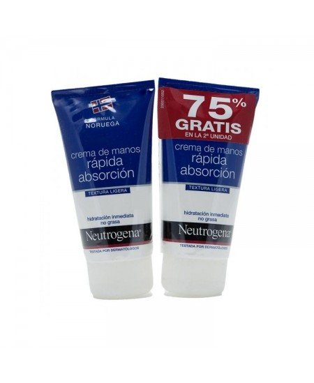 NEUTROGENA CREMA DE MANOS RAPIDA ABSORCION 2 UNIDADES 75 ML