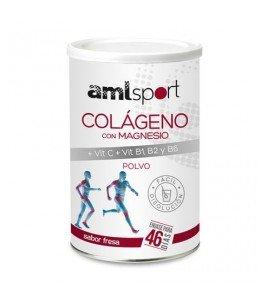 COLAGENO CON MAGNESIO + VIT C + VIT B1, B2 Y B6 AMLSPORT 1 ENVASE 350 G SABOR FRESA