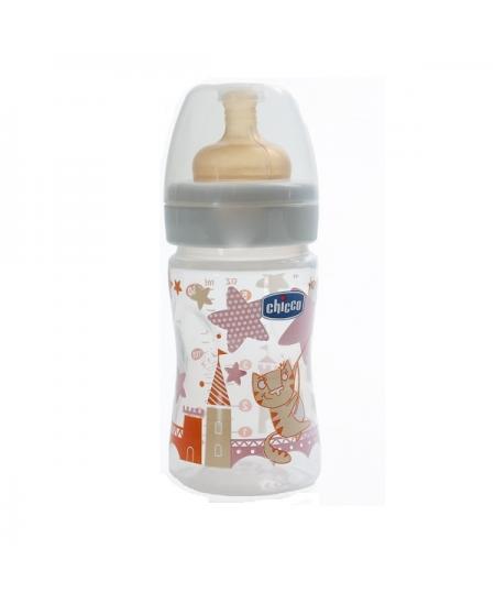 BIBERON 0 BPA PLASTICO PP T CAUCHO CHICCO FISIOLOGICO 0% BISFENOL BOCA ANCHA FLUJO NORMAL 150 ML